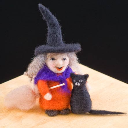 Needle Felting Kit - Witch & Kitty